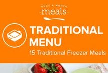 Traditional Freezer Meals Menu July 2016 / Our Traditional July 2016 menu features delicious Grilled Orange Chicken, divine Cheesy Salsa Burgers, and sweet Honey Pecan Glazed Salmon. These recipes (and more!) will allow you to feast like royalty and make it back outside before sunset! / by Once A Month Meals