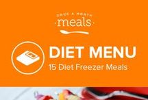 Diet Freezer Meals Menu June 2016 / Our summer diet menu boasts Skinny Hawaiian BBQ Chicken Cups (so much goodness in a tiny bite!), Summer Mango Kebabs (with cubes of basil marinated chicken with chunks of pepper, onion, and mango), and delicious Strawberry waffles (breakfast for dinner?)! I'm sorry, what diet? / by Once A Month Meals