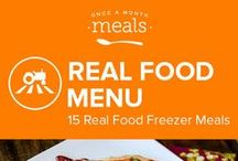Real Food Freezer Meals Menu June 2016 / Your friends and family won't believe this delightful food is real food, and that it came from your kitchen! With mouth-watering Spiced Honey-Lemon Chicken, Slow Cooker Sriracha Pulled Pork Sandwiches, and Butternut Squash Black Bean Dopiaza maybe you'll decide not to share. / by Once A Month Meals