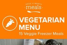 Vegetarian Freezer Meals Menu June 2016 / Fresh seasonal cauliflower is a delight in the quick Vegetarian Cheeseburger Cauliflower, skip the meat and enjoy the Cheesy Spicy Vegetarian Buffalo Chicken Bagel Pizzas, and partake in vegan goodness with the Mongolian Soy Crumbles. This summer vegetarian menu is curated to perfection! / by Once A Month Meals