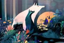 Illustration / Illustrations - cute animals - quirky art - East Asian influence