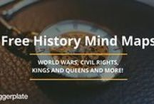 History Mind Maps / Mind maps from the free Biggerplate library, all about History! Check out the full History mind map library here: http://www.biggerplate.com/education-mindmaps/34/history