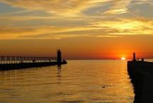 Lake Michigan SUNSETS! / South Haven, Mi has an iconic lighthouse, fabulous surfing waves and glorious sunsets.  A step away! #SouthHaven #Best #B&B