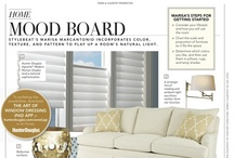 Stylebeat for Hunter Douglas Mood Board with Marisa Marcantonio / Hunter Douglas Vignette® Modern Roman Shades lend a tailored sophistication to a room Marisa's tips for getting started: Consider your lifestyle and how you will use the room Chart the scale and proportion of furniture so it fits the space Determine which colors you like, and then use them in pillows, rugs, and lamp shades To workshop the possibilities, download The Art of Window Dressing ipad APP at hunterdouglas.com/aowd.jsp or at iTunes. As seen in March @Town and Country Magazine