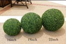 Artificial Boxwood Balls / This Board is the display area for Geranium Street artificial boxwood balls. Other faux plant ideas are included as well as prices and links to online store.