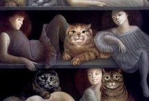 """cat and the artist / """"Like a graceful vase, a cat, even when motionless, seems to flow."""" - George F. Will / by Linda Davis"""