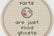 inappropriate cross stitch / Because sarcasm and bad taste should be celebrated by embroidery!