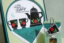 Coffee Set / Inspirational projects created using the Coffee Set stamp set, now available from Gina K Designs. Some of these are my projects, many of them are the work of friends and WMS DT folks.