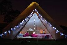 Glamping! / Glamping (or glamorous camping) is the newest big trend for weddings and parties. Have a slumber party with your girls outside!