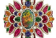 Gemstones: Multiple / Jewelry pieces set with several kinds of colorful gemstones.