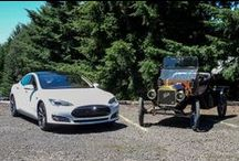 """TESLA - 100% EV / CEO Elon Musk and his most successful Electric Cars : TESLA Roadster / TESLA Model S / TESLA Model X (2015) / TESLA Model 3 (2017). A car with a """" next-generation technology """" and with the TESLA Model S  a real """"Electric Sport Limousine"""" is launched.  !!!  Click on a picture to see : more information, video and/or larger picture. / by Fons De Lie"""