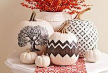 Pumpkin Decorating / Fun ways to display a pumpkin, including easy no-carve pumpkins, painted pumpkins, etched and stenciled pumpkins, and more! For more ideas: http://www.midwestliving.com/homes/seasonal-decorating/pumpkin-decorating-projects/