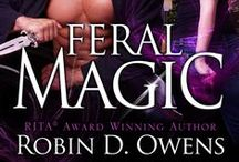 """Feral Magic novella / A blue moon rises, bringing with it magic and danger to a sleeping Denver. Brandy Svensson mourns her lost fiancee and struggles to move on. Her own near-death experience brought her an odd """"gift"""" – a telepathic connection with cats. She's coping she finds a lost jaguar cub. Dak, a warrior Pantherman, is alarmed when his baby nephew, the Chief of the klatch, vanishes. Dak must find the infant before his enemies do...or be branded a murderer and risk igniting warfare among the clans."""
