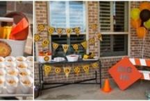Construction Brown Yellow & Orange Birthday Party