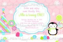 Winter Birthday and Baby Shower Invitations