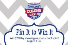 College Colors Day Pin It to Win It Promotion / Ready to celebrate your favorite college team on College Colors Day, August 30? Here's your chance to win $250 of officially licensed collegiate product to help you celebrate in style! Follow the steps to enter listed on the promotion guideline pin below and be sure to include pins of officially licensed collegiate product so that you're eligible to win! Must follow College Colors on Pinterest to enter. Official Rules: http://bit.ly/13X5u1b CONTEST HAS ENDED / by College Colors
