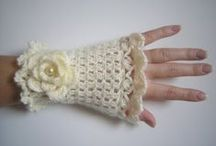 Crochet and knit gloves
