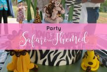 Birthday Party - Safari Birthday Party / Birthday party ideas for a safari birthday party or jungle theme party - lion, zebra, monkey, elephant, giraffe - cake, decorations, guest book, invites, favors, favor tags