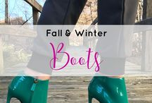 Fall & Winter Shoes / All about fall boots and winter boots like ankle boots, open toe boots, lace up boots, dress boots, casual boots, riding boots, over the knee boots, tall boots, and booties.