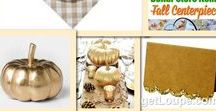 Simple Rustic Gold Thanksgiving Tablescape - Simplify Thanksgiving Dinner with Chic Disposables / Simplify your dinner this Thanksgiving using these rustic yet still chic and elegant gold disposable tableware items. This classic gold table setting features easy centerpiece ideas featuring gold pumpkins and all disposable plates, napkins, cutlery, and even table runners. Spend more time mingling with your guests and less time prepping and cleaning up.