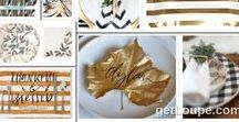 Simple Elegant Black Gold Thanksgiving Tablescape - Simplify Thanksgiving Dinner with Disposable / Simplify your Thanksgiving dinner with this elegant table setting featuring buffalo check disposable plates, paired with stripes and chevron in black, white, and gold hues. Elegantly simple white pumpkin centerpieces with gold leaf placecards and coordinating formal paper placemats. Elegant yet still modern and chic Thanksgiving place settings.