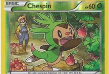 Chespin / Chespin (Japanese: ハリマロン Harimaron) is a Grass-type Pokémon. Chespin evolves into Quilladin starting at level 16, which evolves into Chesnaught starting at level 36. Along with Fennekin and Froakie, Chespin is one of three starter Pokémon of Kalos available at the beginning of Pokémon X and Y. Along with Fennekin, Froakie, Xerneas, and Yveltal, it was the first Generation VI Pokémon to be revealed to the public on January 8, 2013 as part of the Pokémon Direct broadcast.