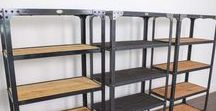 Industrial Shelves / A collection of industrial bookcases designed and made by RetroWorks.