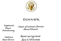 Jackie Kennedy's White House Menus / Jackie stepped up the quality of the cuisine, toned down the number of courses and add a French twist to her White House menus. Most images from JFK Library. All rights reserved to appropriate copyright holders. www.pinkpillbox.com