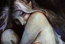 Brian Froud / My collection of Brian Froud books.  Many of the editions I own are older than these, so the covers have changed.  There are also a few here that I still need to buy, but I will have them soon.  I LOVE Brian Froud's faery art! / by Hafapea