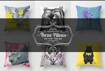 """Throw Pillows / Comfortable Pillows featuring my Art Work. Throw Pillow Cover made from 100% spun polyester poplin fabric, a stylish statement that will liven up any room. Individually cut and sewn by hand, the pillow cover measures 16"""" x 16"""", 18""""x18"""" and also 20""""x 20"""" they feature a double-sided print and is finished with a concealed zipper for ease of care. All pillows here are shown at the 16""""x16"""" size and do not include the pillow. THEY can however be purchased with one."""