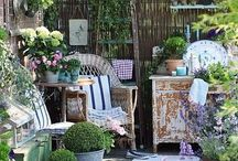 garden ~ patio / creative ideas for a patio garden / by Robin Tillman