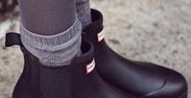 Hunters / I have the refined Chelsea black boots and the red originals
