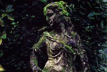 Secret Garden / Magical gardens with beautiful statuary. Hidden alcoves. Beautiful details.