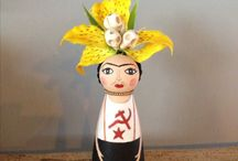 mon petite friducha / frida kahlo / hand-painted / wooden doll  by deniz altaş
