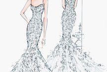 Skizzen von Brautkleidern