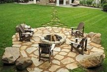 Fire pit, seating, and paths