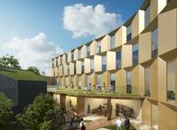 Hackney Triangle, London / Residential, offices, retail.  A facade retention scheme for 27 residential units, 6 houses, retail and creative office space in the heart of Hackney, opposite the orginal Tesco's location. Designed to Passivhaus standards providing exceptional sustanability credentials.
