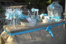 Burlap Christening by Fiona / The color scheme for this little boy's christening was burlap with turquoise details.