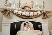 1st birthday ideas / Going with a rustic/vintage winter ONEderland theme. -burlap, white, maybe some pink and turquoise too but just hints. Doilies and Burlap. Definitely want to do a hot cocoa bar. Love the tomato soup/grill cheese shots/samplers. Smash Cake and then big white lattice cake from Costco.