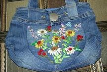 Stitches:All In The Jeans / Denim Denim Denim...upcycle those jeans.  Use it up wear it out or do without...Anything that is made from or decorated with denim.   Old Jeans...
