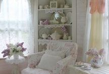 Home Decor:Shabby Chic / I love this look.  Especially in my bedroom.  It is so feminine and comforting.  A totally romantic look.  I really like how cozy it makes me feel.