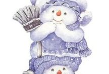 DIY:Snowmen Showing Off / Building a snowman is totally fun.  There are no rules only one law.  The law of gravity.  Pack the snow good and hard.  Snowmen can be made of fabric too or painted so many ways...