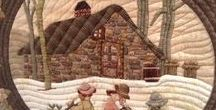 Quilting:Log Cabin and Houses / Quilts with Log Cabin blocks and the variations.