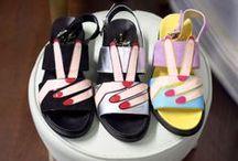 On my feet / shoes, socks, nails.
