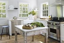 Kitchens / Kitchen inspiration - design around an antique or vintage piece to achieve a stylish and inviting look. Discover our range of authentic vintage French homewares and furniture today www.chezpluie.com