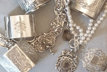 Karen Lindner Designs -  Refinement Jewelry Collection sampling / One of a kind jewelry created from antique rare and unusual English, French, American and Continental sterling objects, rhinestone treasures, and other forgotten works of art..