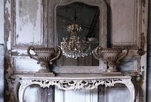 Rustic Elegance / when stone, old wood and wrought iron combine with crystal and patina'd silver...perfection