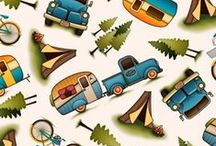 Fabric For the Great Outdoors / Cotton Fabric with a Camping Theme