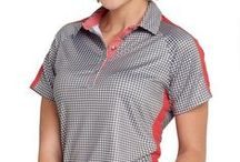 GG Blue Ruby Sky / Mini black checks, peach, white and grey are featured in this Sport Collection of Ladies Apparel by GG Blue.