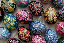 Pysanky Portfolio / Decorative eggs in the Ukrainian tradition. Annually, Susan and her Dad keep up the Bednarcik tradition for several weeks prior to Easter they wax and dye chicken eggs resulting in these bold and  genuinely unique mixture pieces of art.